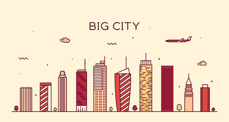 city scape: Big city skyline at night detailed silhouette Trendy vector illustration linear style