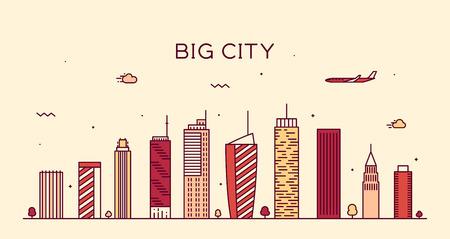 lijntekening: Grote skyline van de stad 's nachts gedetailleerde silhouet Trendy vector illustratie lineaire stijl