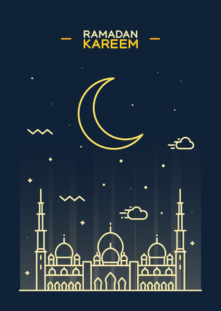 Greeting card template for holy month of muslim community Ramadan Kareem Ramadan fanous on beautiful arabic background Trendy flat vector illustration Illustration