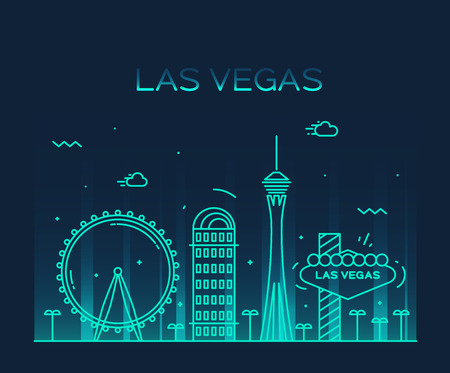 Las Vegas skyline big city architecture vintage vector illustration