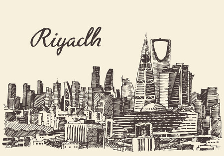 saudi: Riyadh skyline big city architecture vintage engraved vector illustration hand drawn sketch