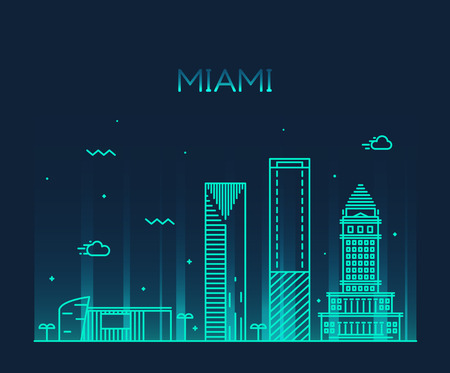 panoramic beach: Miami skyline at night, detailed silhouette Trendy vector illustration linear style Illustration