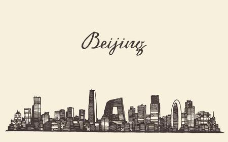 Beijing skyline vintage vector engraved illustration hand drawn sketch