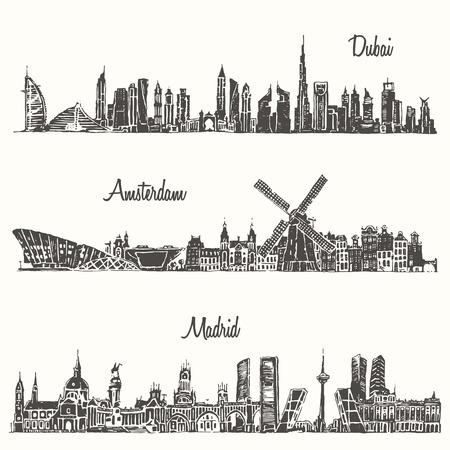 Set of skylines Dubai Madrid Amsterdam engraved illustration hand drawn sketch