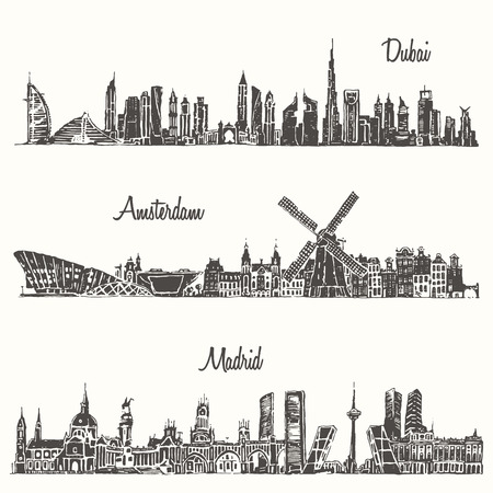 skylines: Set of skylines Dubai Madrid Amsterdam engraved illustration hand drawn sketch