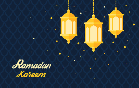 lantern: Greeting card template for holy month of muslim community Ramadan Kareem Ramadan fanous on beautiful arabic background Trendy flat vector illustration Illustration