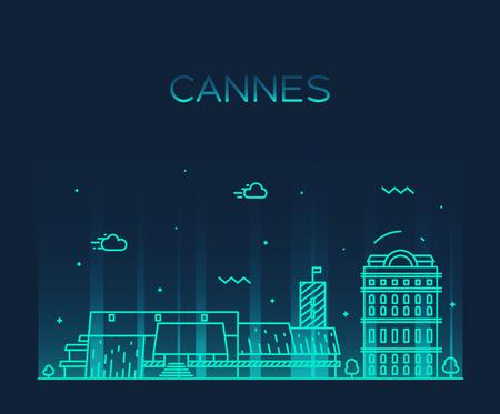 boulevard: Cannes skyline detailed silhouette Trendy vector illustration linear style Illustration