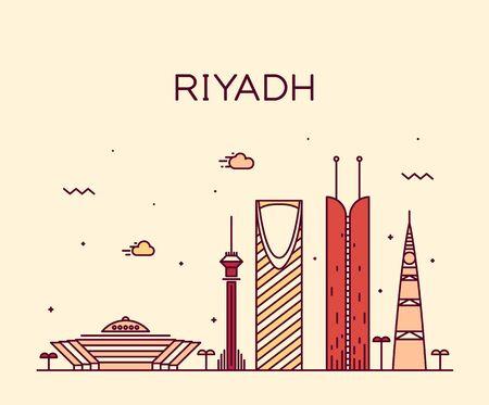 ksa: Riyadh skyline detailed silhouette Trendy vector illustration linear style