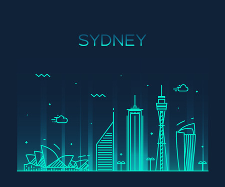 australia landscape: Sydney skyline detailed silhouette Trendy vector illustration linear style