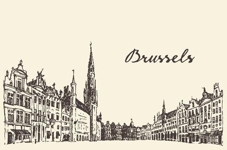 ブリュッセル ヴィンテージの通りベクトル刻まれたイラスト手描きのスケッチ  イラスト・ベクター素材