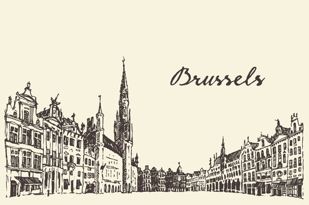Streets in Brussels vintage vector engraved illustration hand drawn sketch Illustration