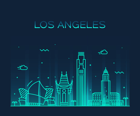 silhouette america: Los Angeles skyline detailed silhouette Trendy vector illustration linear style Illustration