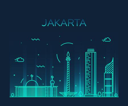 Jakarta skyline detailed silhouette Trendy vector illustration linear style Illustration