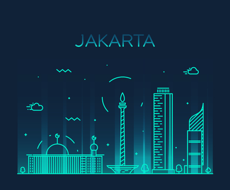 Jakarta skyline detailed silhouette Trendy vector illustration linear style Stock Illustratie