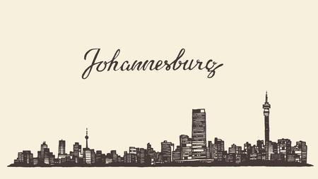 sur: Ilustración grabada boceto dibujado a mano Johannesburgo horizonte de la vendimia del vector Vectores