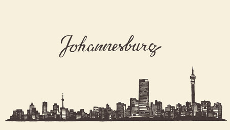 and south: Johannesburg skyline vintage vector engraved illustration hand drawn sketch