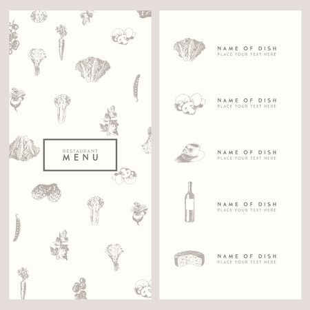 eating lunch: Trendy restaurant menu design high detailed vector illustration hand drawn