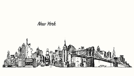 new york skyline: New York city skyline vector vintage engraved illustration hand drawn sketch