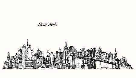 New York city skyline vector vintage engraved illustration hand drawn sketch