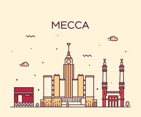 arabia: Mecca skyline detailed silhouette Trendy vector illustration, linear style