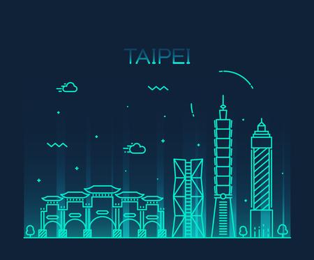 taiwanese: Taipei skyline detailed silhouette Trendy vector illustration linear style