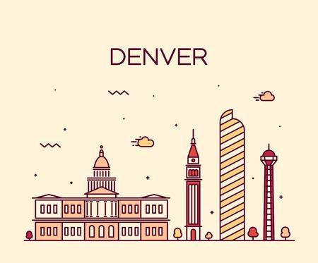 denver skyline: Denver skyline detailed silhouette Trendy vector illustration linear style Illustration