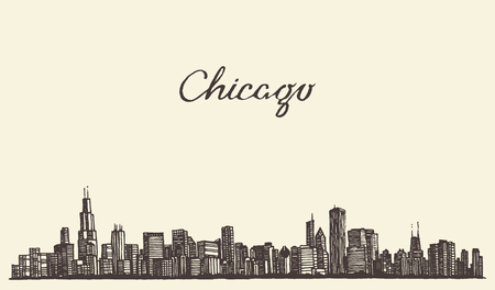 pencil drawings: Chicago skyline big city architecture engraving vector illustration hand drawn Illustration