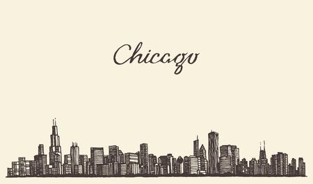 Chicago skyline big city architecture engraving vector illustration hand drawn Illustration