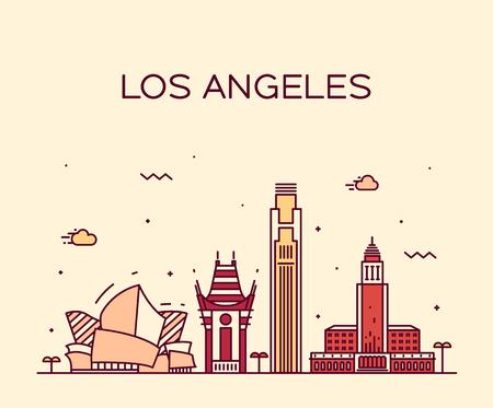 los angeles: Los Angeles Skyline Detaillierte Silhouette Vektor-Illustration Trendy linearen Stil Illustration