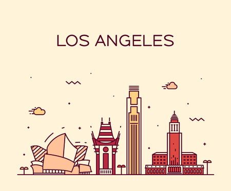 Los Angeles skyline detailed silhouette Trendy vector illustration linear style Illustration
