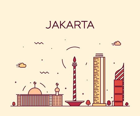 Horizonte de Yakarta silueta detallada ilustración del vector de moda estilo lineal