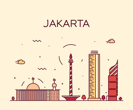 Jakarta skyline detailed silhouette Trendy vector illustration linear style Illustration