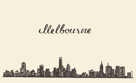 australia landscape: Melbourne skyline vintage vector engraved illustration hand drawn sketch
