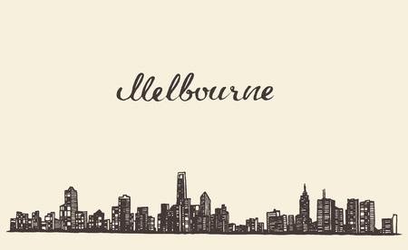 australia landscape: Melbourne skyline vintage vector engraved illustration hand drawn sketch
