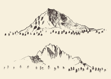 tirol: Mountains sketch contours engraving hand drawn vector Illustration