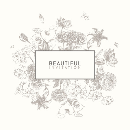 botanical drawing: Trendy collection of beautiful hand drawn flowers, floral set collection of design elements isolated illustration on white background Illustration