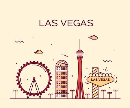 vegas: Las Vegas skyline big city architecture vintage vector illustration