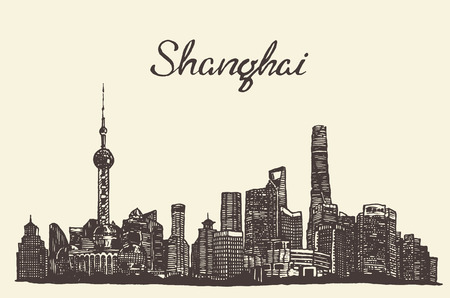 shanghai skyline: Shanghai skyline vintage vector engraved illustration hand drawn sketch