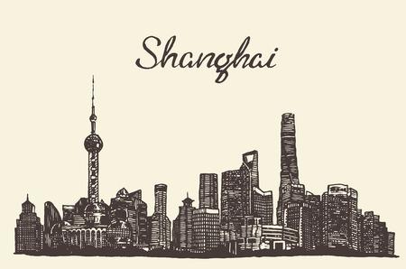 Shanghai skyline vintage vector engraved illustration hand drawn sketch