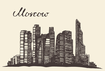 moscow: Moscow skyline vintage vector engraved illustration hand drawn sketch