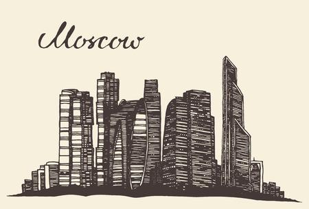 Moscow skyline vintage vector engraved illustration hand drawn sketch