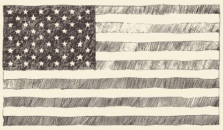 banderas america: Estados Unidos de América EE.UU. bandera ilustración vectorial Vintage dibujado a mano Vectores