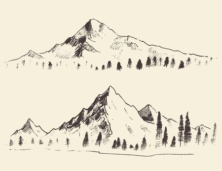 Mountains sketch contours engraving hand drawn vector 일러스트