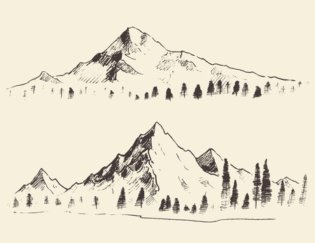 Mountains sketch contours engraving hand drawn vector Vettoriali