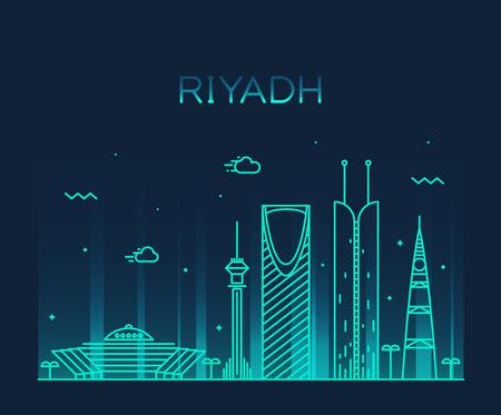 estilo urbano: Horizonte de Riad silueta detallada ilustraci�n del vector de moda estilo lineal Vectores