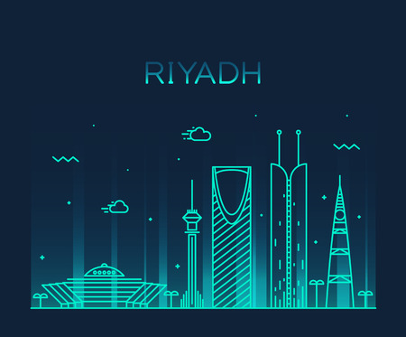 arabia: Riyadh skyline detailed silhouette Trendy vector illustration linear style