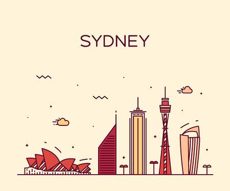 シドニー スカイライン詳細シルエット線形スタイルのトレンディーなベクトル イラスト  イラスト・ベクター素材
