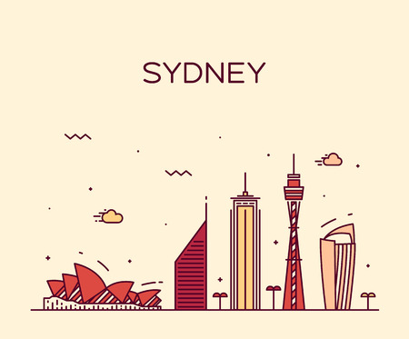 australia landscape: Sydney skyline detailed silhouette Trendy vector illustration linear style