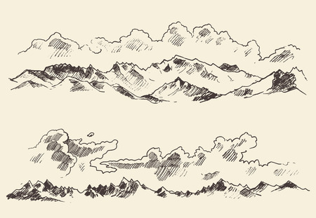 mountain valley: Mountains sketch contours engraving hand drawn vector Illustration