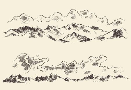 montagna: Vettore tracciato montagne contorni schizzo incisione a mano Vettoriali
